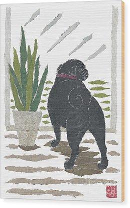 Black Pug Art Hand-torn Newspaper Collage Art Wood Print by Keiko Suzuki Bless Hue