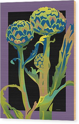 Black-purple Artichoke Wood Print