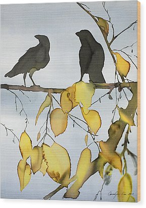 Black Ravens In Birch Wood Print by Carolyn Doe
