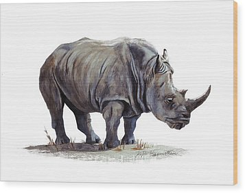 Black Rhinoceros Wood Print