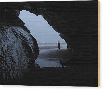 Black Rock Cave Wood Print