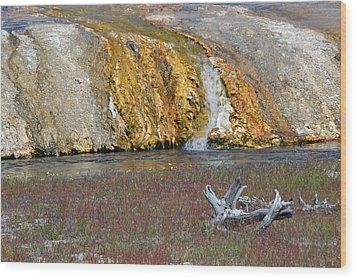 Black Sand Basin Runoff Yellowstone Wood Print by Bruce Gourley