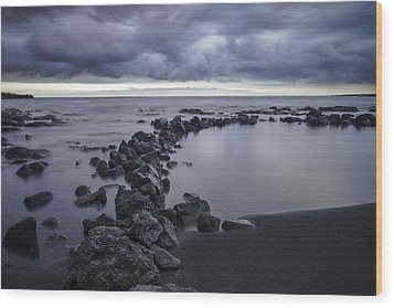 Wood Print featuring the pastel Big Island - Black Sand Beach by Francesco Emanuele Carucci