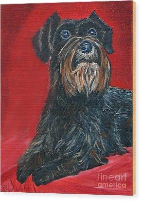 Black Schnauzer Pet Portrait Prints Wood Print