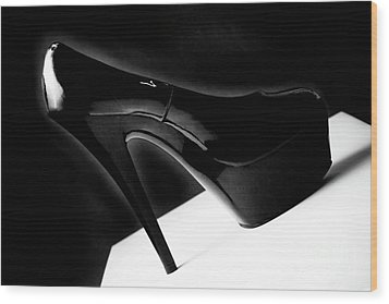 Black Sexy Stiletto Heels 1 Wood Print