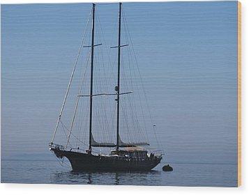 Black Ship Wood Print
