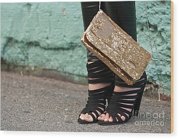 Black Shoes Gold Sequins Wood Print by Rick Piper Photography