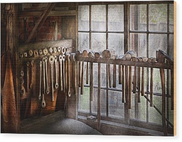 Black Smith - Draw Plates And Hammers  Wood Print by Mike Savad