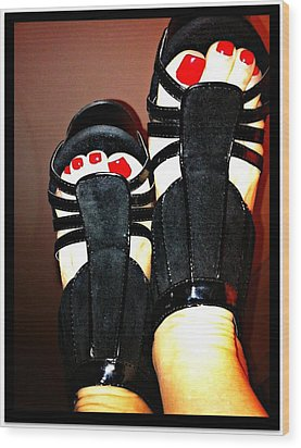 Black Suede Shoes Wood Print by Art by Dance