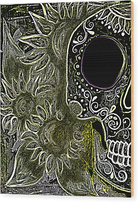 Black Sunflower Skull Wood Print by Lovejoy Creations
