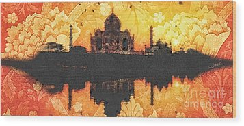 Black Taj Mahal Wood Print by Mo T