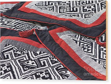 Black Thai Fabric 04 Wood Print by Rick Piper Photography