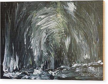 Black Water Cave Wood Print
