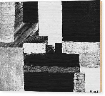 Black White Gray Abstract Wood Print by Marsha Heiken