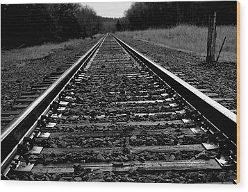 Black White Tracks Wood Print