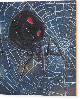 Black Widow Wood Print by Debbie LaFrance