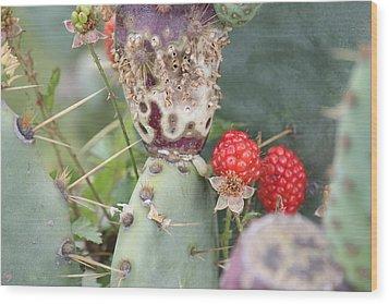 Blackberries Are Coming Wood Print by Lorri Crossno