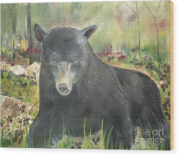 Wood Print featuring the painting Blackberry Scruffy 2 by Jan Dappen