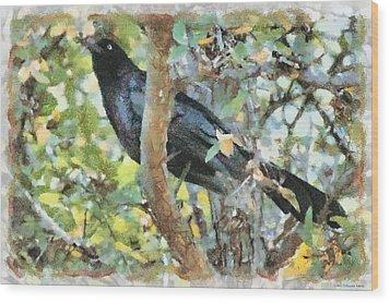 Blackbird Wood Print by Lorri Crossno