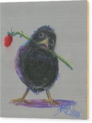 Blackbird Love Wood Print