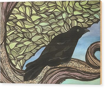 Blackbird Wood Print by Meagan  Visser