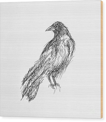 Wood Print featuring the drawing Blackbird  by Nicole Gaitan