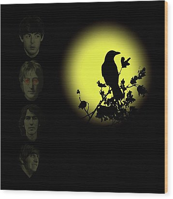 Blackbird Singing In The Dead Of Night Wood Print