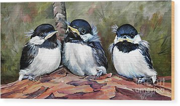 Blackcapped Chickadee Babies Wood Print by Suzanne Schaefer