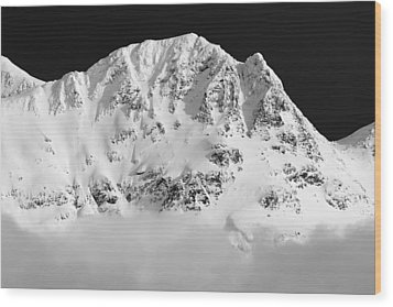 Blackcomb Above The Clouds In Black And White Wood Print by Pierre Leclerc Photography
