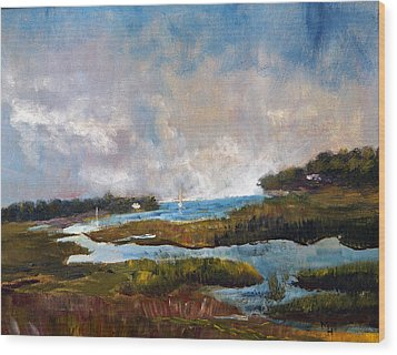 Wood Print featuring the painting Blackfish Creek by Michael Helfen