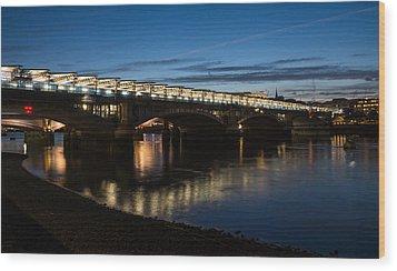 Wood Print featuring the photograph Blackfriars Bridge - London U K by Georgia Mizuleva
