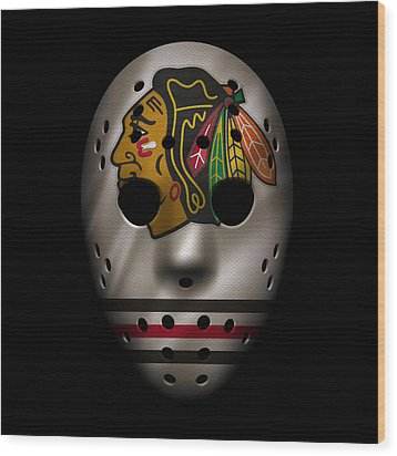 Blackhawks Jersey Mask Wood Print by Joe Hamilton