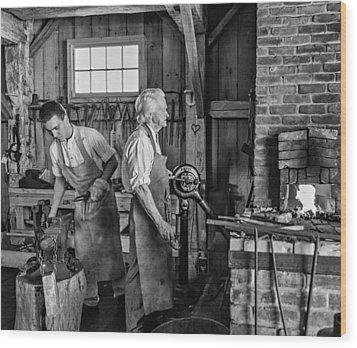 Blacksmith And Apprentice 2 Bw Wood Print by Steve Harrington