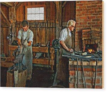 Blacksmith And Apprentice Impasto Wood Print by Steve Harrington