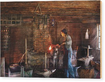 Blacksmith - Cooking With The Smith's  Wood Print by Mike Savad