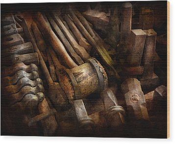 Blacksmith - The Art Of Pounding  Wood Print by Mike Savad