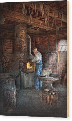 Blacksmith - The Importance Of The Blacksmith Wood Print by Mike Savad