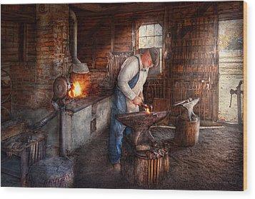 Blacksmith - The Smith Wood Print by Mike Savad