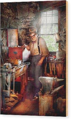 Blacksmith - The Smithy  Wood Print by Mike Savad