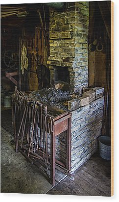 Blacksmiths Forge Wood Print