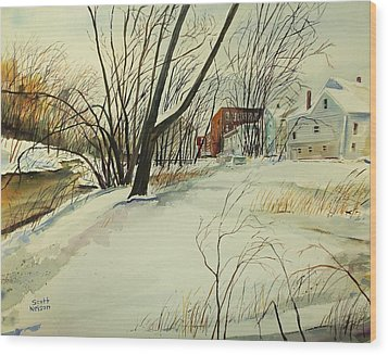 Blackstone River Snow  Wood Print by Scott Nelson