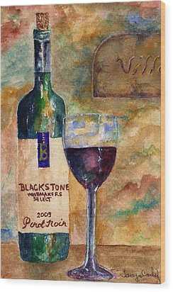 Wood Print featuring the painting Blackstone Wine by Tamyra Crossley