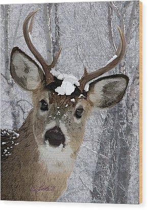 Blacktail Buck In Snow Wood Print