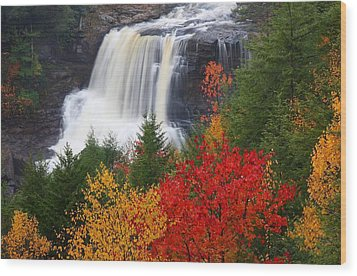 Blackwater Falls In Autumn Wood Print by Jetson Nguyen