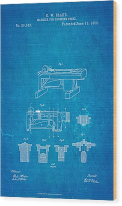 Blake Stone Crushing Patent 1858 Blueprint Wood Print by Ian Monk