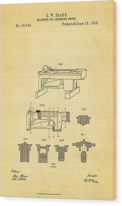Blake Stone Crushing Patent 1858 Wood Print by Ian Monk