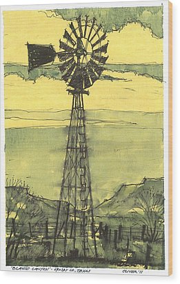 Wood Print featuring the mixed media Blanco Canyon Windmill by Tim Oliver