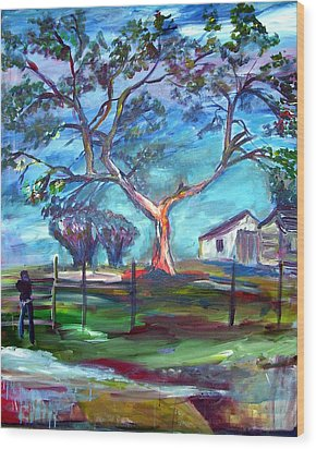 Blanco Texas Ranch House Wood Print
