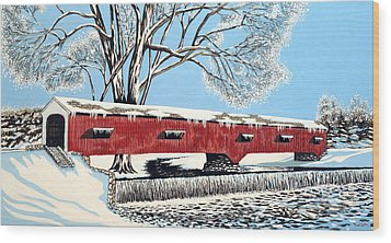 Blankets Of Winter Wood Print by David Linton
