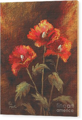 Wood Print featuring the painting Blazing Poppies by Vic  Mastis